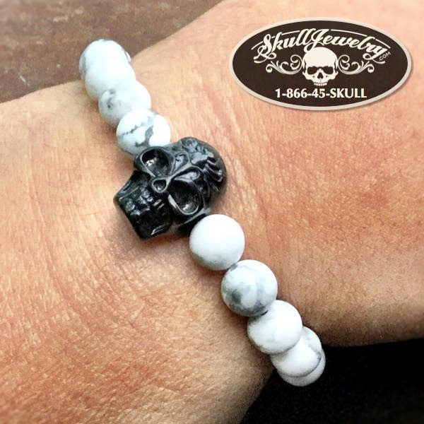 'Nights in White Satin' Bracelet with Black Skull