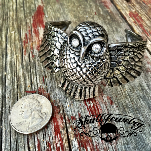 'It's a Beautiful Day' Owl Bracelet with White Cubic Zirconia Eyes