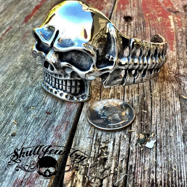 'Boogie With Stu' Big, Bold & Heavy Skull Bangle Bracelet (841)