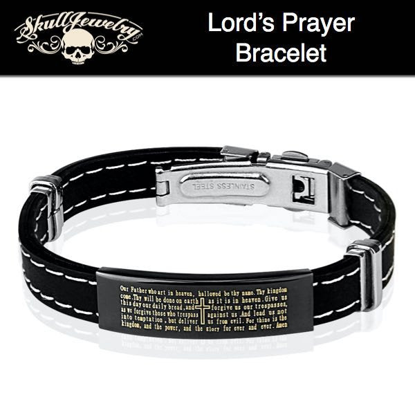 'Lords Prayer' Stainless Steel & Rubber Bracelet