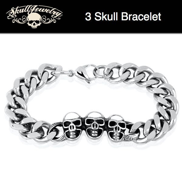 'I Can Hear You Calling' Stainless Steel Skull Bracelet