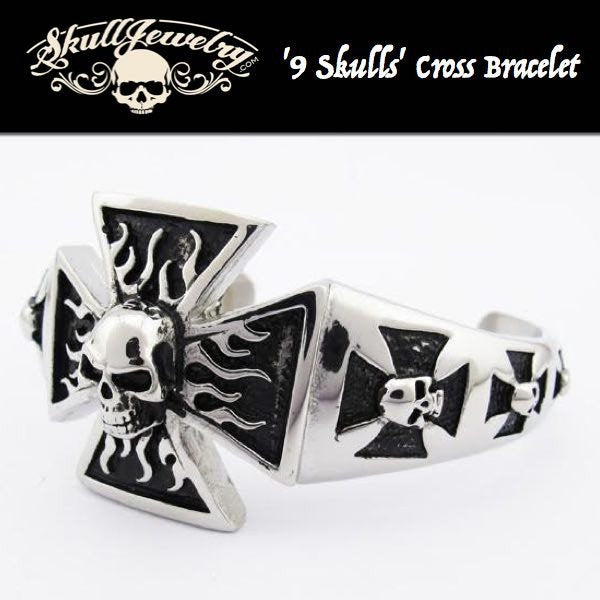 '9 Skulls' Cross Bangle Bracelet