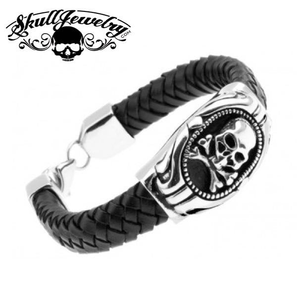 'Jolly Roger' Leather & Stainless Skull Bracelet