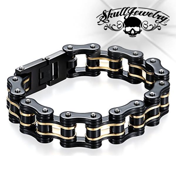 Black/Gold Motorcycle Chain Bracelet