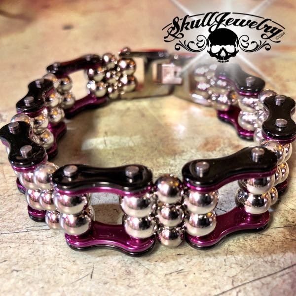 Black Stainless Motorcycle Chain w/Beads Bracelet