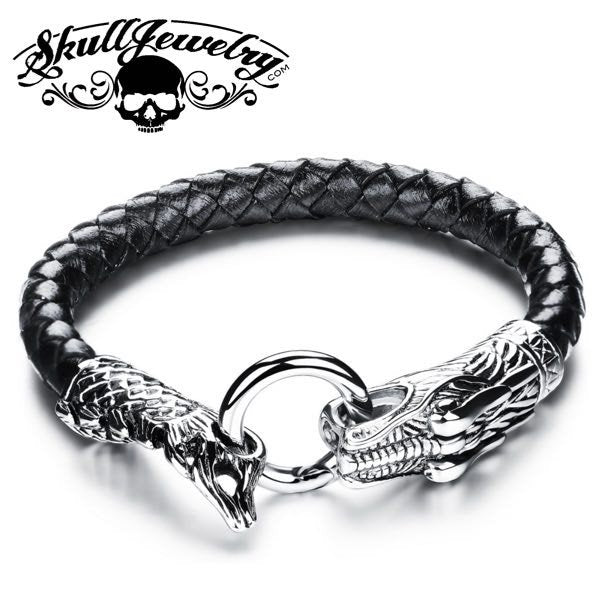 'It Comes Back To You' Leather & Stainless Steel Dragon Bracelet