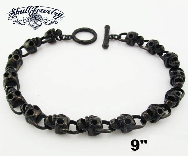 Black Stainless Steel Skull Bracelet - 9 inches