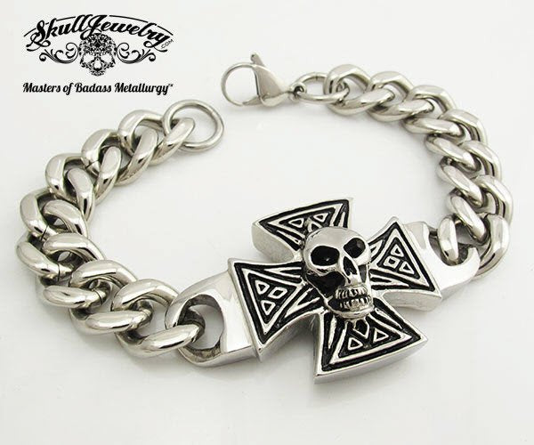 'Rock and Roll All Night' Skull and Cross Bracelet