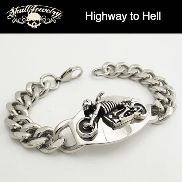 'Highway To Hell' Stainless Steel Link Bracelet