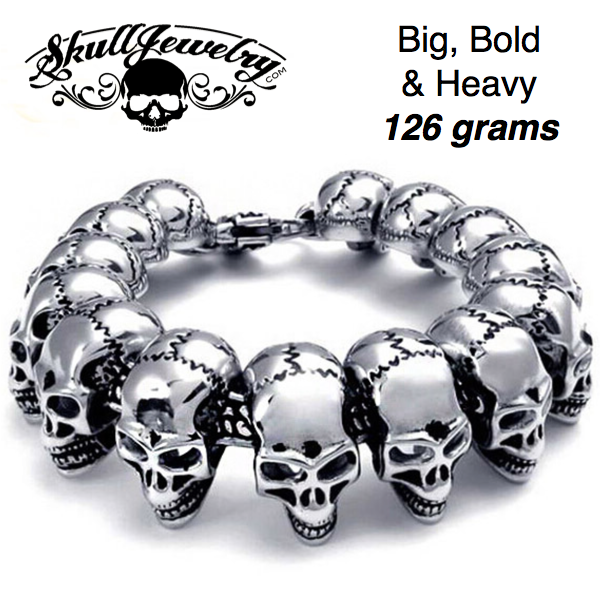 'Go Your Own Way' Big, Bold & Thick Stainless Steel 14 Skulls Bracelet