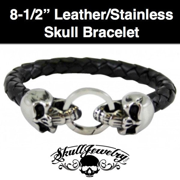 Double Cracked Skull Leather & Stainless Steel Bracelet - 8-1/2 inches (898)