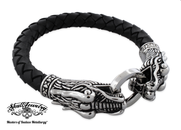 Double Dragon Leather & Stainless Steel Bracelet