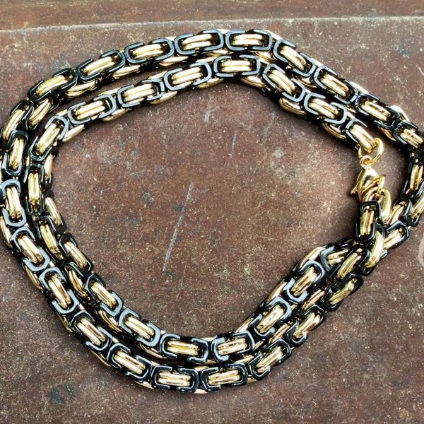 Black and Gold Necklace Combo Bracelet