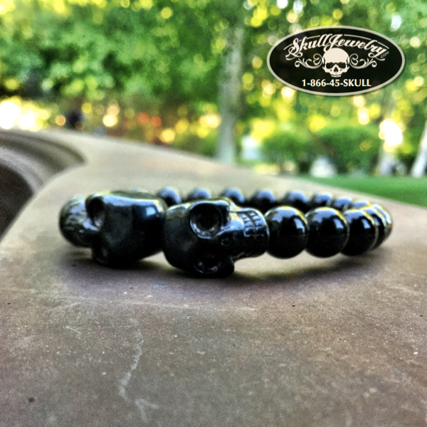 Black Beaded Double Skull Bracelet