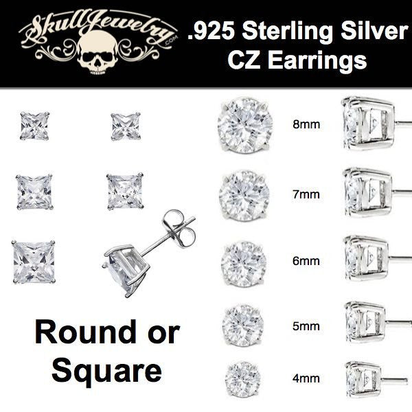 .925 sterling silver cz earring round or square