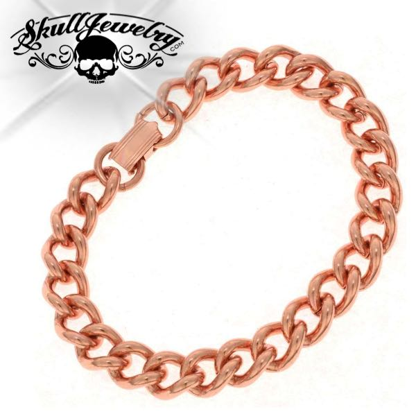 Solid Copper Heavy Mens Chain Link Bracelet