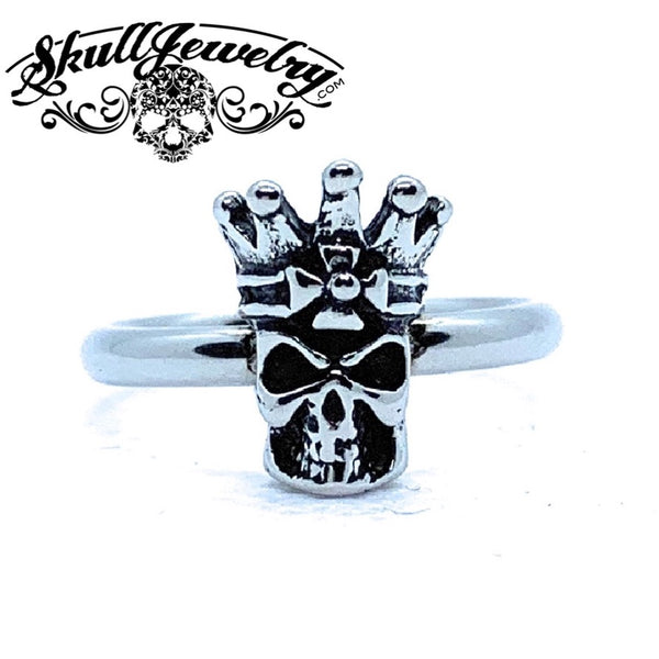 Petite Skull Ring with Crown (306)