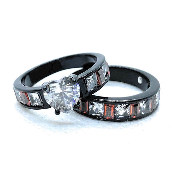 'Bianco Cuore Rosa' Clear & Orangish/Red Engagement/Wedding 2 Ring Set