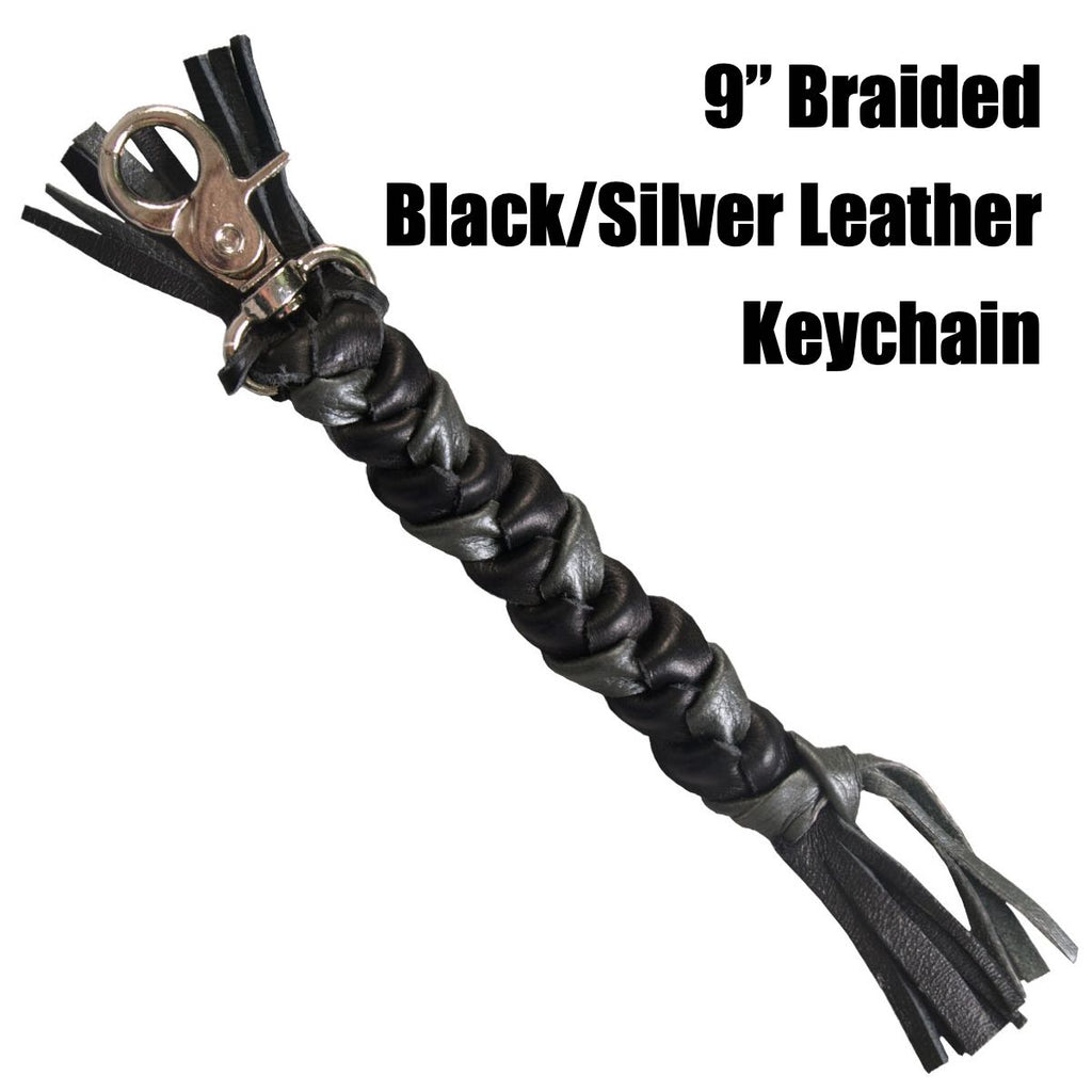 "9"" Braided Black/Silver Leather Keychain (kc018)"