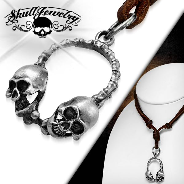 Adjustable Leather Double Skull & Bones Necklace