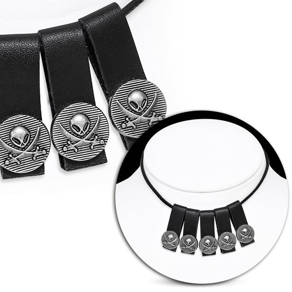 Alien Crossbone Skull Tassel Necklace