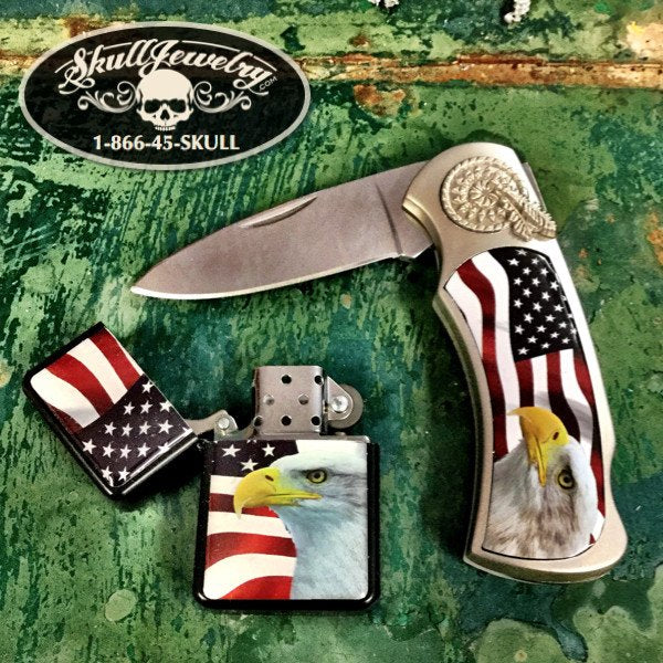 American Eagle Lighter/Knife Gift Set