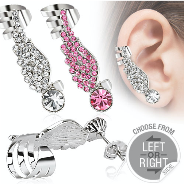 Angel Wing Ear Cuff with Pave Gemstones