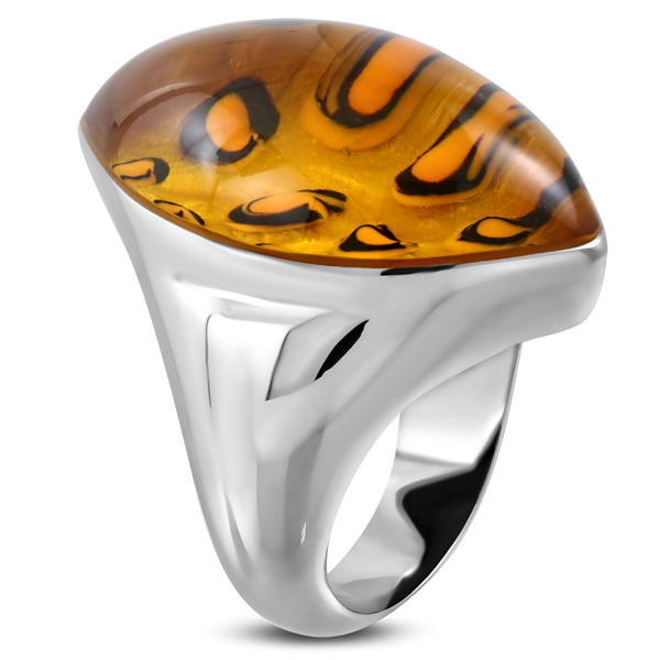 'Animal' Leopard Glass Stainless Ring