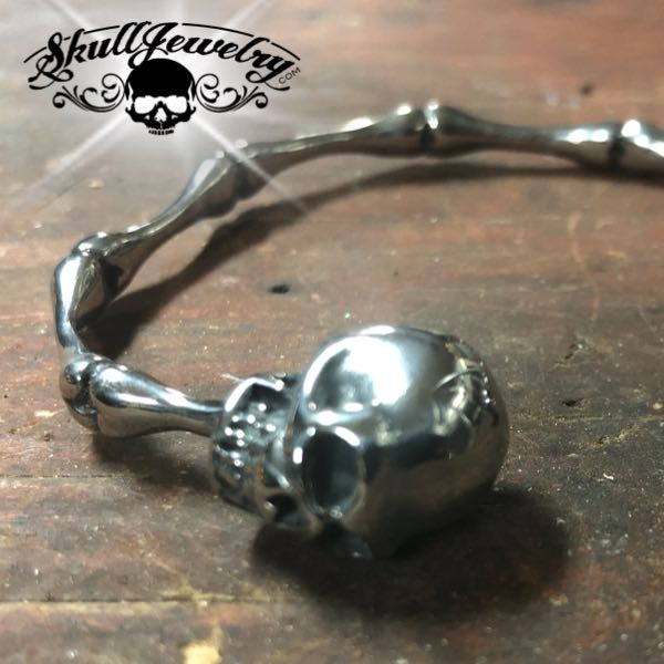 'Bad to the Bone' Steel Bangle Bracelet