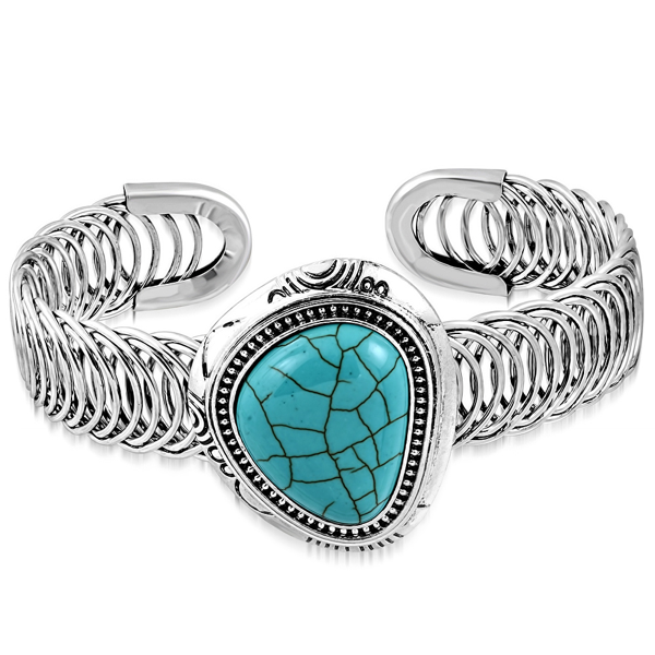 Big Adjustable Turquoise Bangle (c165)