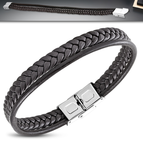 Black On Black Braided Leather Bracelet