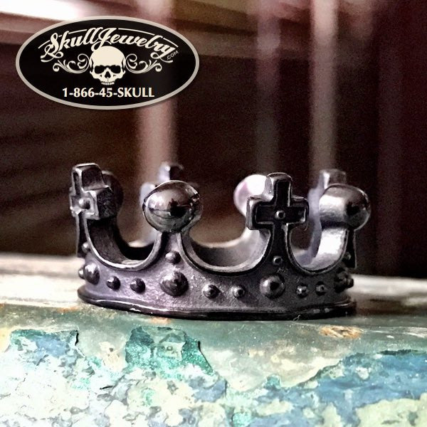 BLACK 'Royal Crown' Stainless Steel Ring