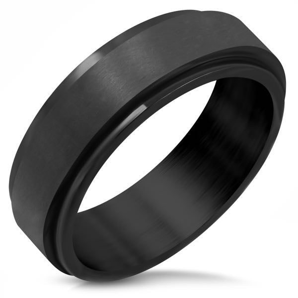 Black Band Stainless Steel Spinner Ring