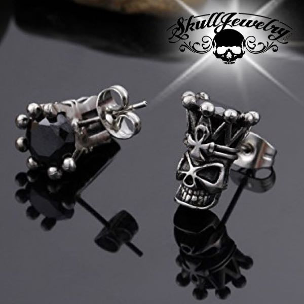 'Black Crown' Skull Earring