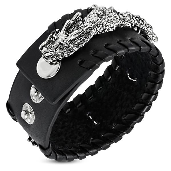 Black Leather Dragon Snap Biker Bracelet