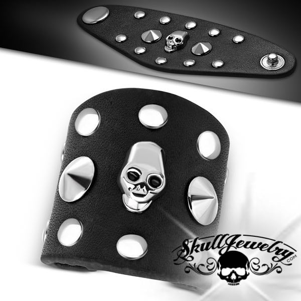Black Leather Skull Biker Ring (c073)