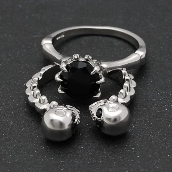 'Due Teschi Neri' Black Stone Double Skull Head Wedding/Engagement/Promise Rings (w038)