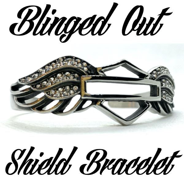 Blinged Out 'Shield' Bangle Bracelet (c015)