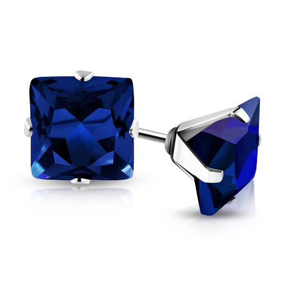 Blue Sapphire Swarovski Crystal Stud Earrings
