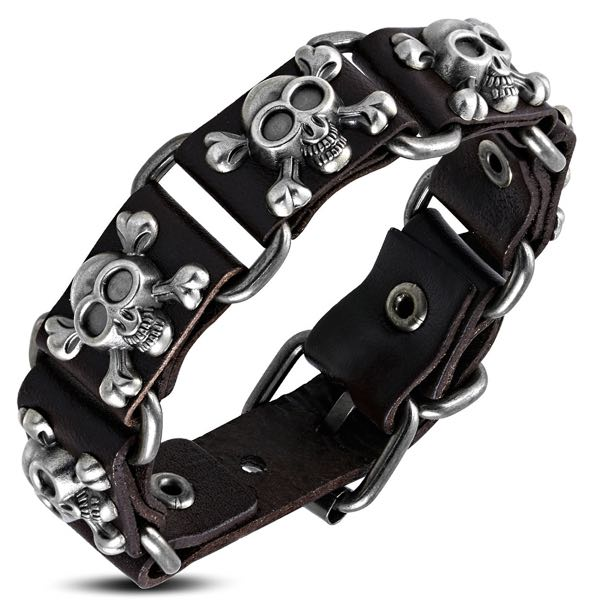 'Bone On Bone' Brown Skull Crossbone Leather Bracelet
