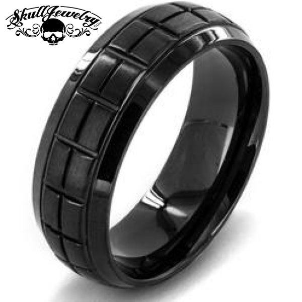 Box Grooved Black Stainless Steel Ring