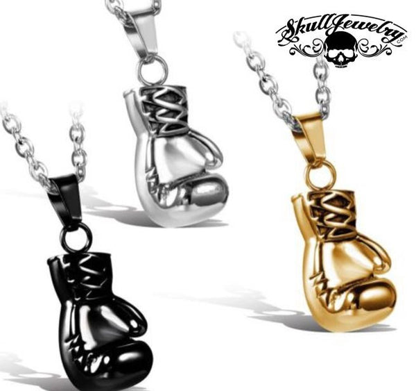 Boxing Gloves Pendant; Stainless, Black or Gold