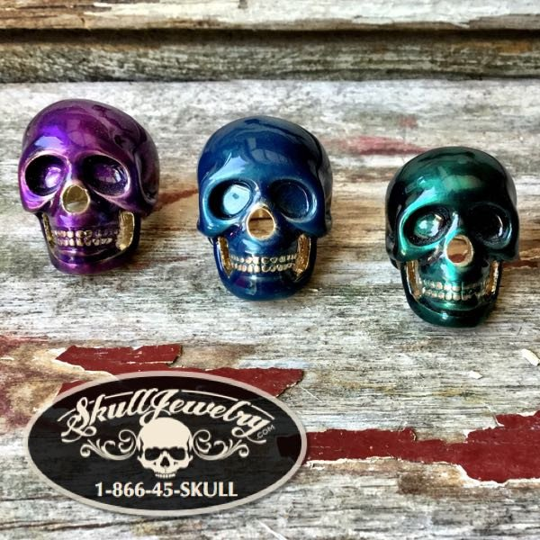Brass/Ceramic Skull Rings