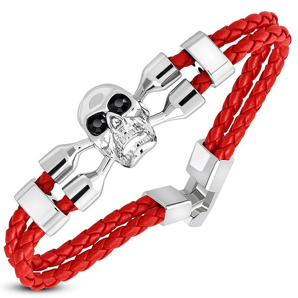 Bright Red Skull Crossbone Leather Bracelet (c316)
