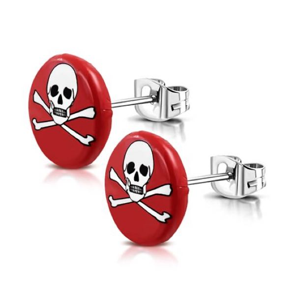Bright Red Skull Crossbones Earrings (c087)