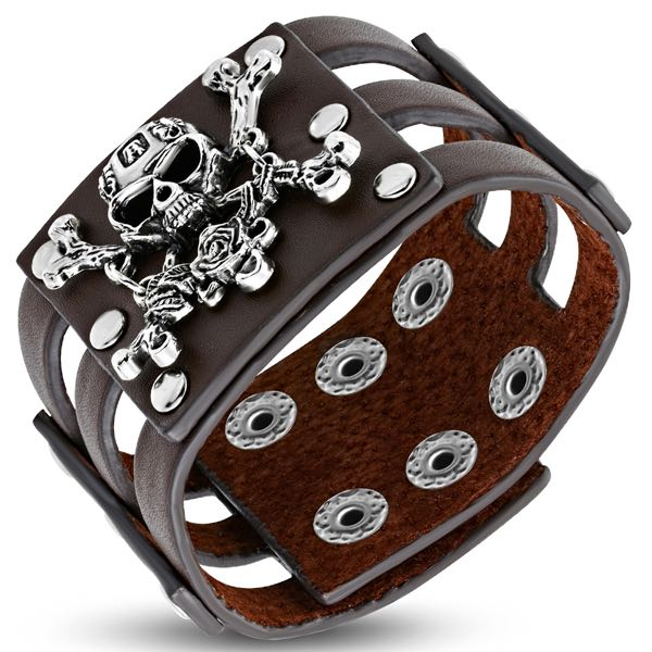 Brown Leather Cut-Out Studded Skull & Crossbones Bracelet