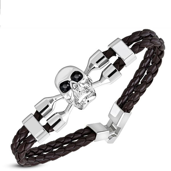 Brown Skull Crossbone Leather Bracelet