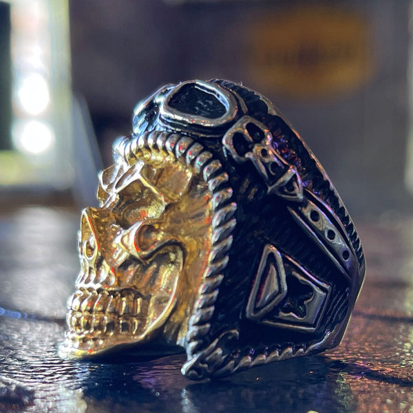 'Brilliant Disguise' Gold & Stainless Steel Skull Ring (item#391)
