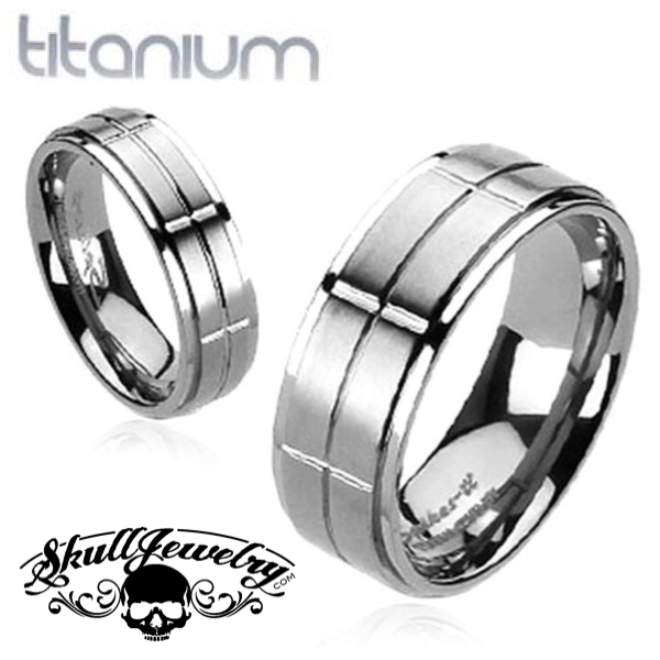 Solid Titanium Ring With Brushed Cross Grooved Center Band