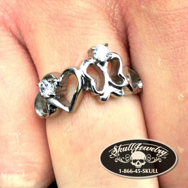 Butterfly & Hearts Ring with Gems Stainless Steel